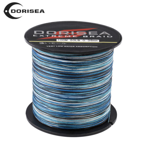 Dorisea 6lb~300lb Blue Camouflage PE Braided Fishing Line 100m//300m//1000m//2000m