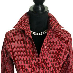 Fendi-Authentic-Vintage-90s-FF-Logo-Button-Front-Collared-Blouse-Red-42-US-XS