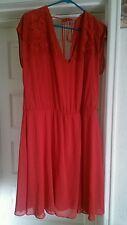 Asos Curve Flowy Red Lace Trimmed Dress Plus Size 20 (runs big)