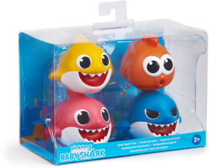 Pinkfong Baby Shark Bath Squirt Toy 4 Pack NEW