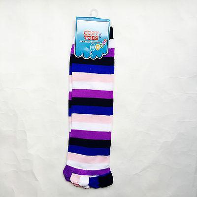 KNEE HIGH TOE SOCKS - STRIPY COLOURFUL COSY & WARM - GIRLS &WOMEN - HIGH QUALITY