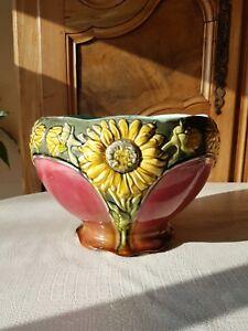 à Condition De Barbotine Cache Pot Ancien 19 Faiencerie Orchies 499 Fleur Tournesol St Amand Luxuriant In Design