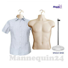2 Pack Male Torso Dress Body Form Mannequins Flesh 1 Stand 2 Hangers