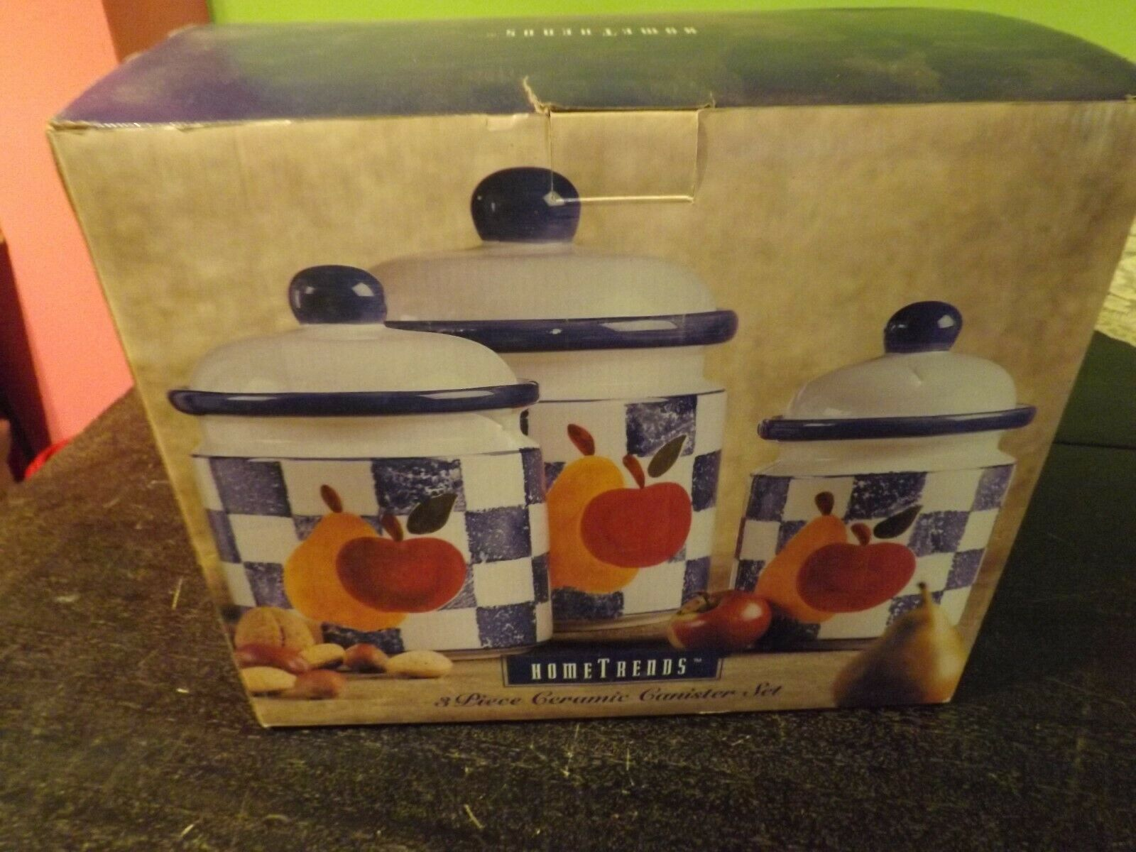 Home Trends Blue Checkers Kitchen Canister 9 pc set Fruit Apple Pear