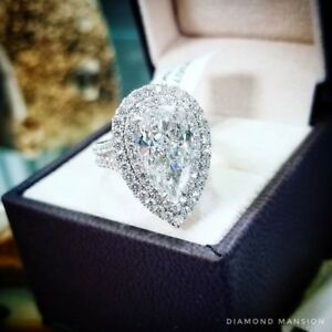 53bb0c552eee2d Natural Pear Cut Double Halo Split Shank Pave Diamond Engagement ...