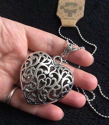 """3D Turquoise Stone Heart Necklace 24/"""" Chain Silver Native American Love Protect"""