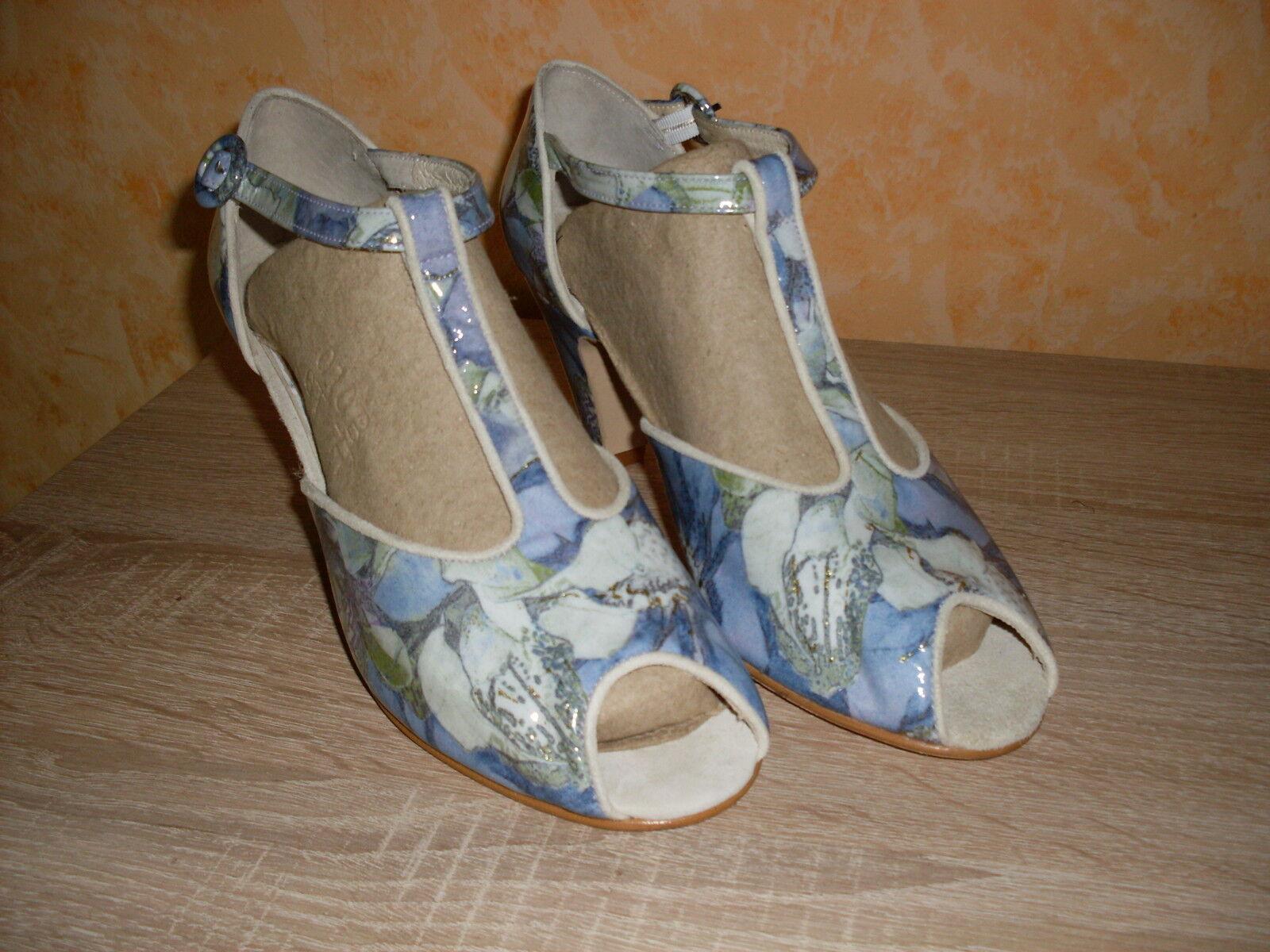 Leonie T- Spangen Sandalette & NEU Gr. 39 in & Sandalette Lack Leder blau kombiniert d0bc5e