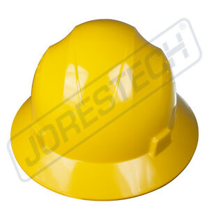 YELLOW-HARD-HAT-FULL-BRIM-JORESTECH-4-POINT-RATCHET-SUSPENSION-CONSTRUCTION-ANSI