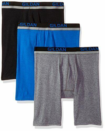 Gildan Men/'s Cotton Spandex Athletic Long Leg Boxer Briefs 3-Pack Black//Royal...