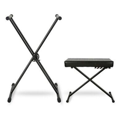 Musician's Gear Double-Braced Keyboard Stand & Deluxe Keyboard Bench