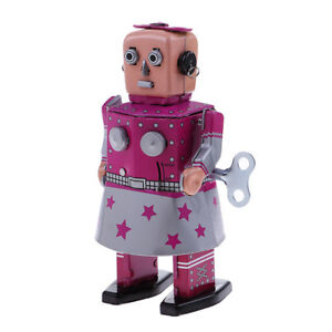 Antique-Wind-Up-Tin-Toy-Clockwork-Walking-Robot-in-Dress-for-Home-Decor-Gift