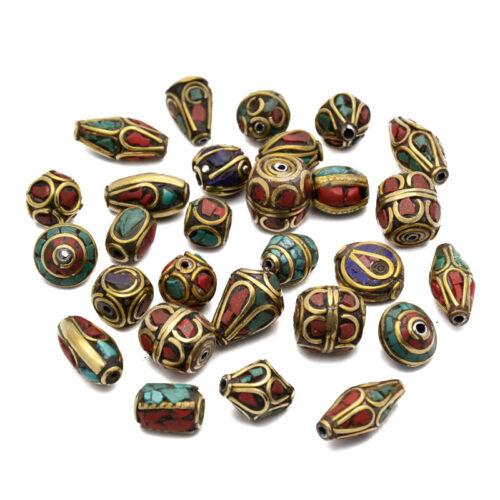 50pcs Antique Golden Handmade Tibétain Style laiton CORAIL TURQUOISE PERLES Mixte