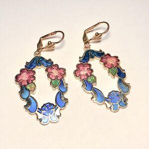 Vintage-Cloisonne-Enamel-Floral-Dangle-Earrings