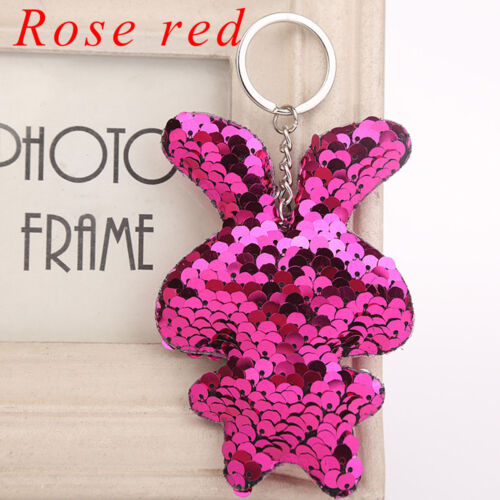 Bag Accessories Rabbit Key Ring Glitter Sequins Keychain Handbag Pendant Holder