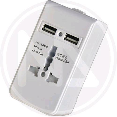 ADATTATORE UNIVERSALE da VIAGGIO con 2 PRESE USB MAURER Spina 10A