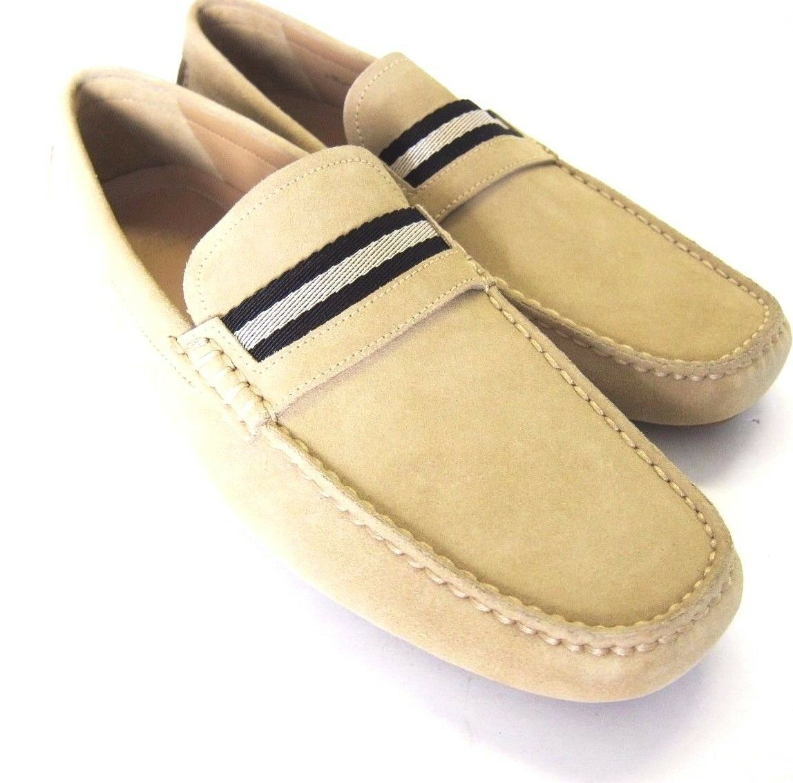 S-1177119 New Bally Wabler Sabbia Light Tan Suede Drivers Size US 11D Marked 10E
