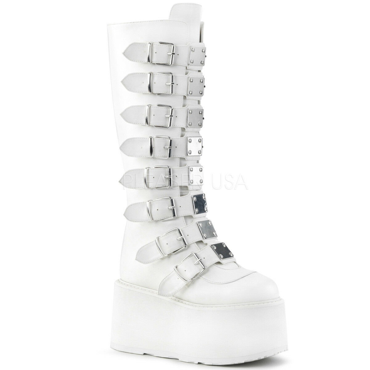 Demonia DAMNED-318 Women's White Vegan Leather 8-Buckle Platform Knee High Boots