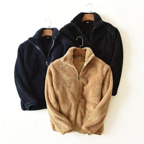 Men Jacket Cardigan Coat Faux Sherpa Fleece Warm Winter Stand Collar Zipper Soft