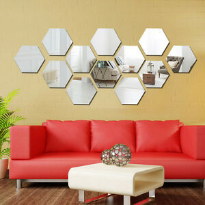 12 Pcs 3d Mirror Hexagon Vinyl Removable Wall Sticker Decal Home