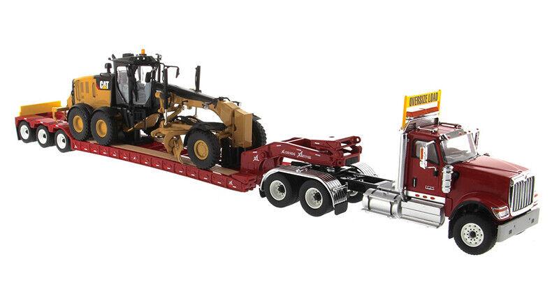 1/50 DM 85598 International Hx520 Tractor+Lowboy Trailer+Cat 12M3 Motor Grader