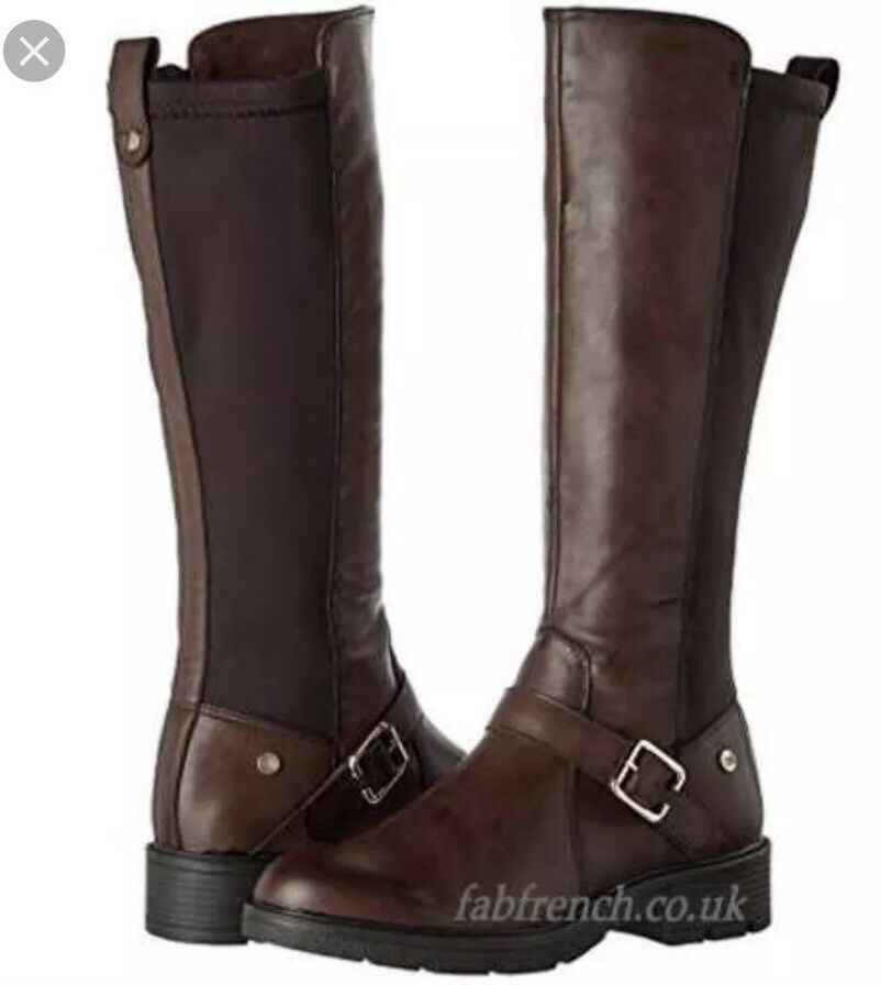 Ladies XTI Biker Boots Brown SIZE