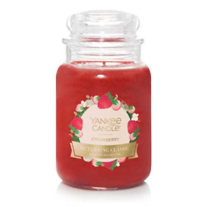 STRAWBERRY-LARGE-YANKEE-CANDLE-JAR-22-OZ-FREE-FAST-SHIPPING-50TH-ANNIVERSARY