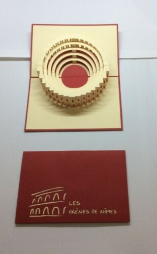Colosseum Architecture Red Color   3D Paper Pop Up Art    special present