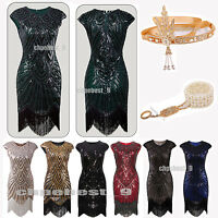 1920s Flapper Dress Gatsby Sequin Beads Ladies Charleston Cocktail Fancy Costume