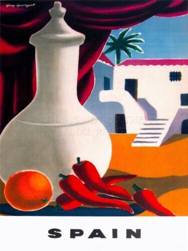 ART PRINT POSTER TRAVEL TOURISM SPAIN ORANGE PEPPER HACIENDA VILLA PALM NOFL1229