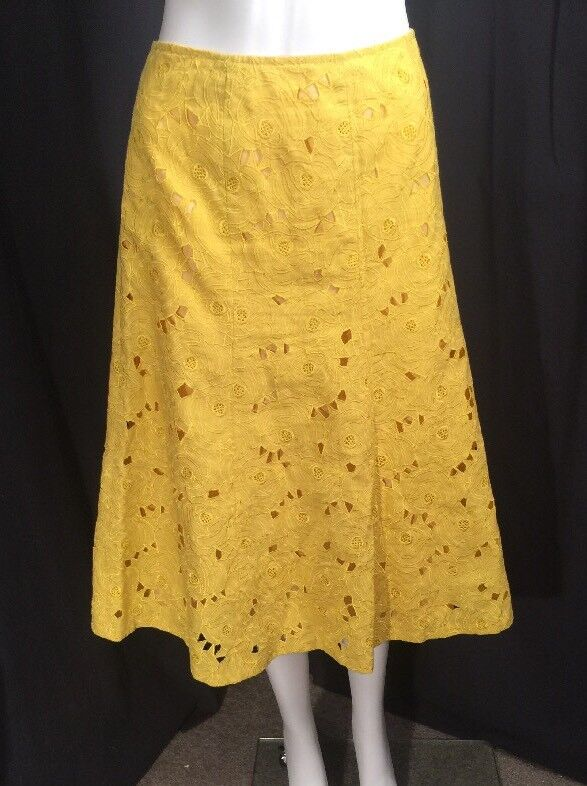 Lafayette 148 NY Bright Yellow Linen Embroidered Laser Cut Floral Skirt Sz 10