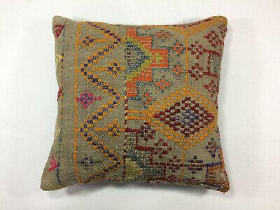 Handwoven Kilim Cushion Cover 18x18 Vintage Handmade Jute weave Rug Pillow 1034
