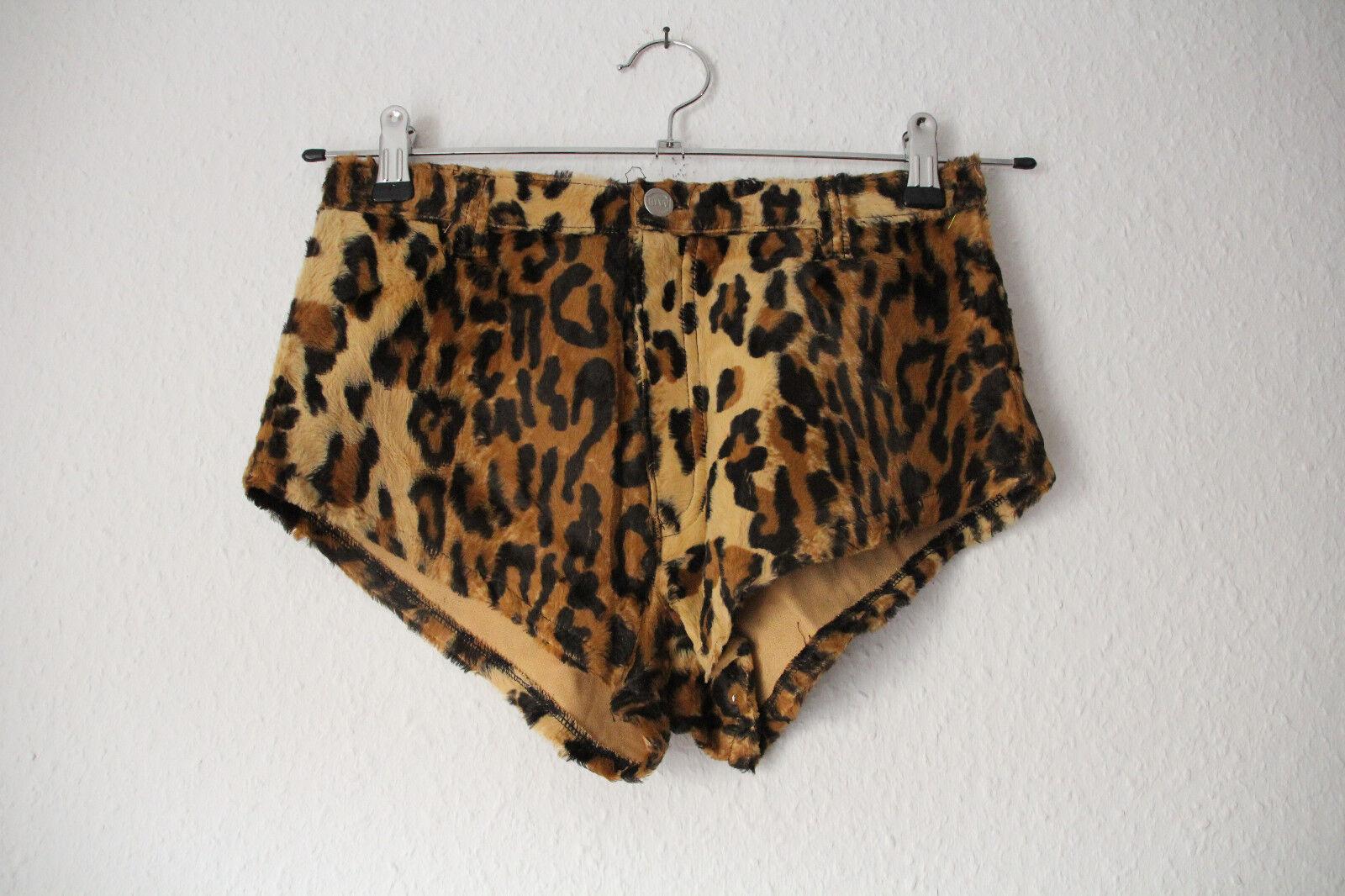 Hotpants Tierimitat Leopard von Mode Wichtig, Größe M (Disco 80s Party Pop)