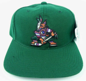 PHOENIX-COYOTES-NHL-VINTAGE-1990s-GREEN-SNAPBACK-THROWBACK-CAP-HAT-NWT-RARE