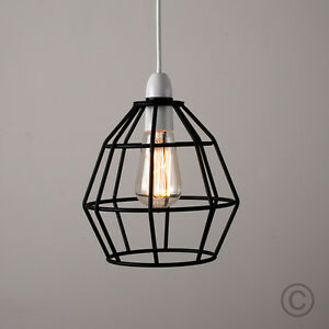 Modern black metal wire frame ceiling pendant light lamp shade image is loading modern black metal wire frame ceiling pendant light greentooth Gallery
