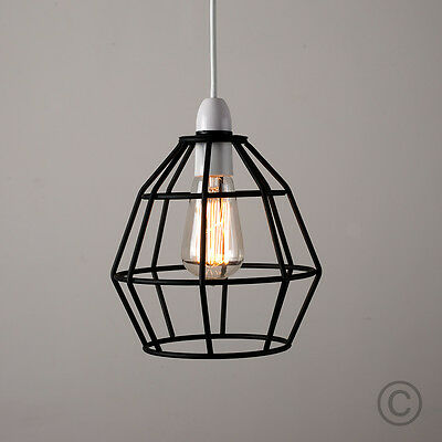 Modern Black Metal Wire Frame Ceiling Pendant Light Lamp Shade Lampshade Lights