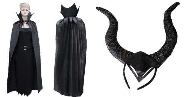 Adult Womens Maleficent Costume Headpiece Halloween Black Cape Mistress of Evil
