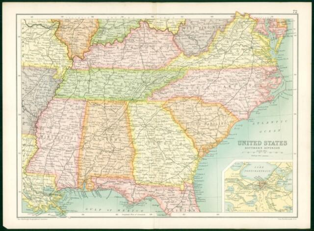 1912 Original Colour Antique Map United States Southern Division - New-orleans-us-map