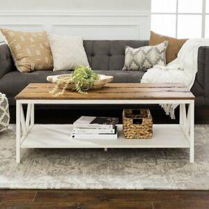 Rectangular White Wood Tone Farmhouse Coffee Table Storage Shelf
