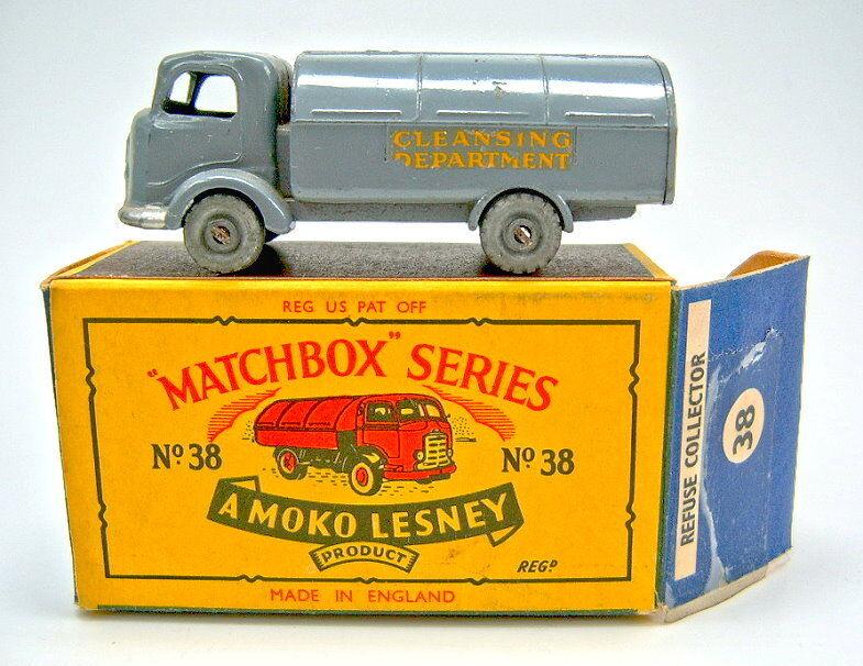 Matchbox Rw 38a Refuse Truck d' Grey Metal Wheels in Box