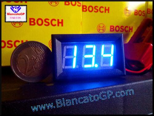 Voltmetro digitale LED 3V-30V mini BLU tensione tester pannello auto moto rally