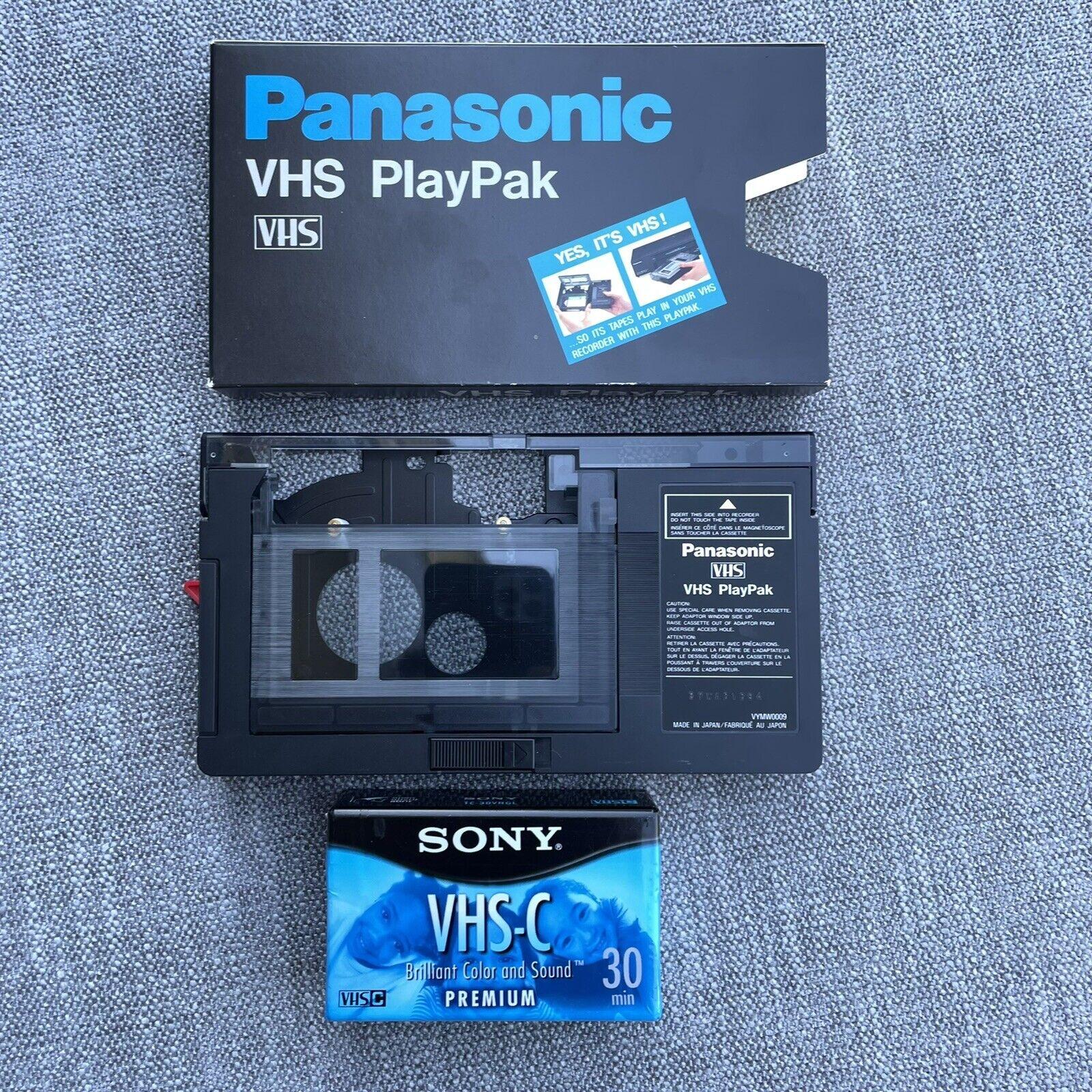 Panasonic VHS PlayPak VHS-C to VHS Motorized Converter Adapter & Sony Cassette