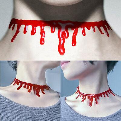 2Pcs Halloween Zombi Sangre Vampiro Rojo sangre Collar Gargantilla Cuello Punk