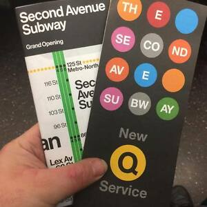 Second Avenue Subway Map Brochure Opening Day 2nd Ave Mta Vignelli