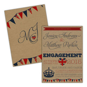Personalised-kraft-engagement-party-invitations-BRITISH-RETRO-FREE-ENVELOPES-amp-D