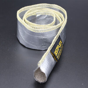 Metallic-Heat-Shield-Sleeve-Insulated-Wire-Hose-Cover-Wrap-Loom-Tube-1-2-034-3-Ft