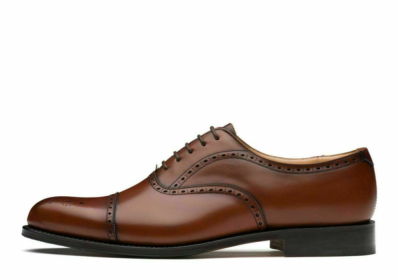Mens Handmade shoes Brown Leather Oxford Brogue Lace Up Formal Wear Casual Boots