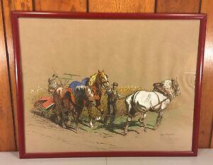 Vtg French Eugene Pechaubes Pastel on Paper Farm Scene Ltd Edition Print 2 of 2