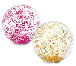 Intex-Wasserball-transparent-Glitzer-pink-oder-gold-Strandball-Glitter-Ball