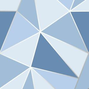 Details About Apex Geometric Wallpaper Blue Fine Decor Fd41992 Triangles