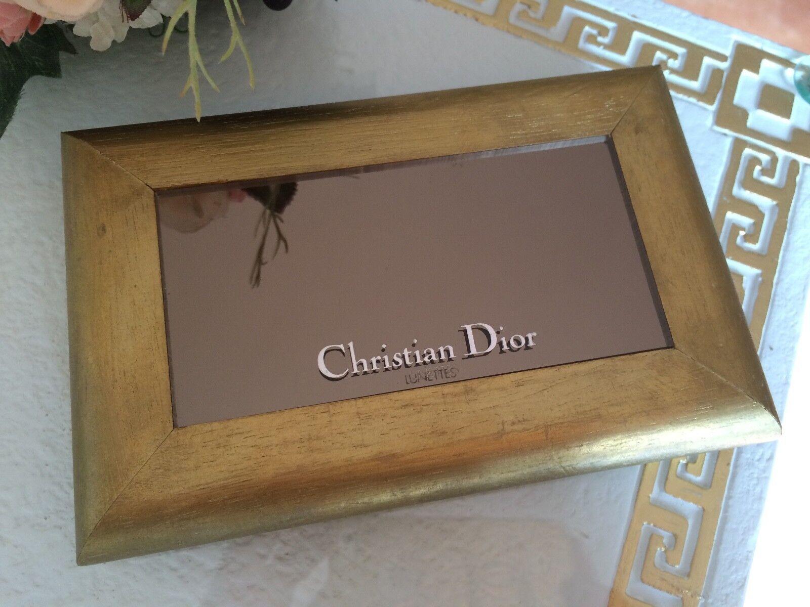 Christian Dior Lunettes Spiegel Wandspiegel RARITÄT Rar Gold Holz 17x11cm Top